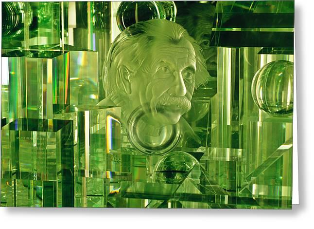 Mad Scientist Greeting Cards - Einstein in Crystal - Green Greeting Card by Christi Kraft