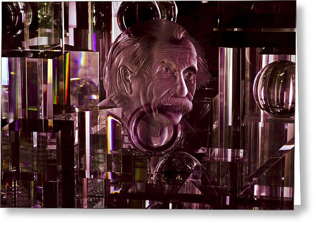 Reflection In Glass Greeting Cards - Einstein in Crystal - Purple Greeting Card by Christi Kraft