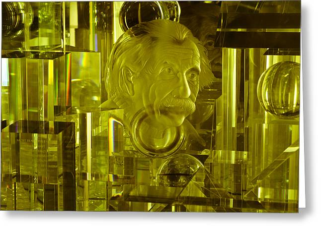 Mad Scientist Greeting Cards - Einstein in Crystal - Yellow Greeting Card by Christi Kraft
