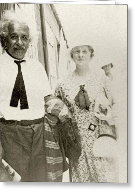 Einstein On A Ship Greeting Card by American Philosophical Society
