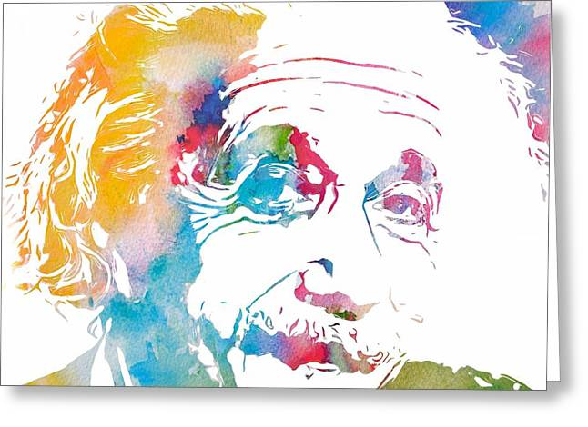 Hypothesis Greeting Cards - Einstein Portrait Watercolor Greeting Card by Dan Sproul