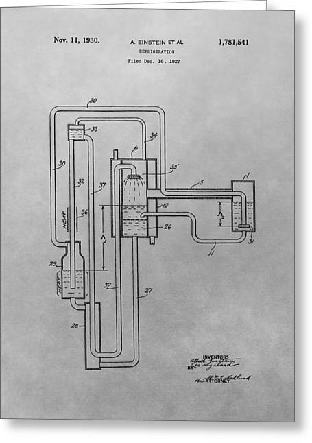 Mechanics Drawings Greeting Cards - Einstein Refrigerator Patent Drawing Greeting Card by Dan Sproul