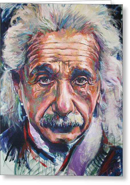Savant Paintings Greeting Cards - Einstein Greeting Card by Tachi Pintor