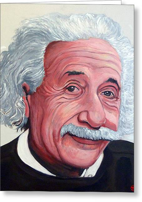 Celebrity Portraits Greeting Cards - Einstein Greeting Card by Tom Roderick