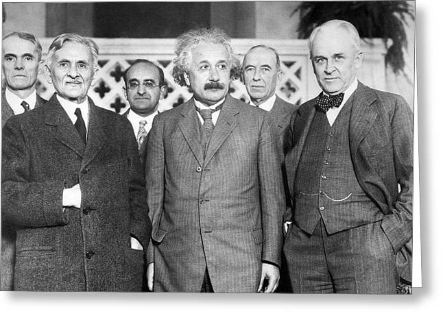 Einstein With Us Physicists Greeting Card by Emilio Segre Visual Archives/american Institute Of Physics