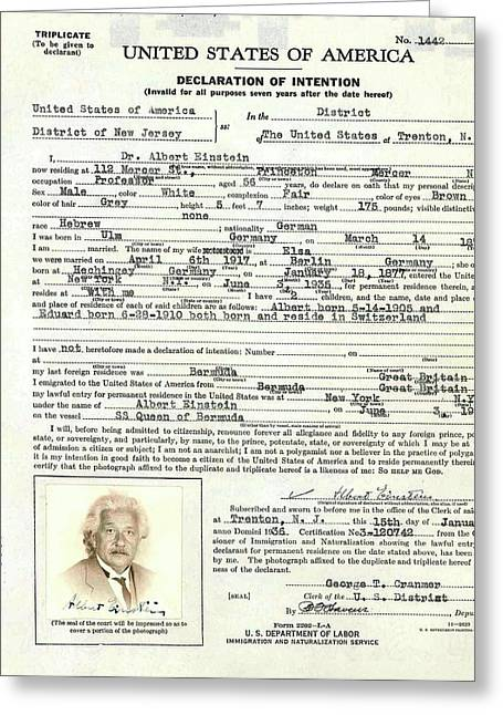 Einstein's Immigration Declaration Greeting Card by Emilio Segre Visual Archives/american Institute Of Physics