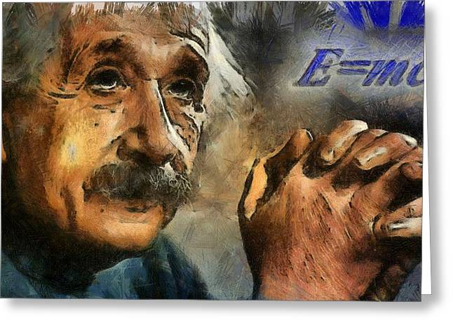 Quantum Physics Greeting Cards - Einsteins Revelation Greeting Card by Dan Sproul