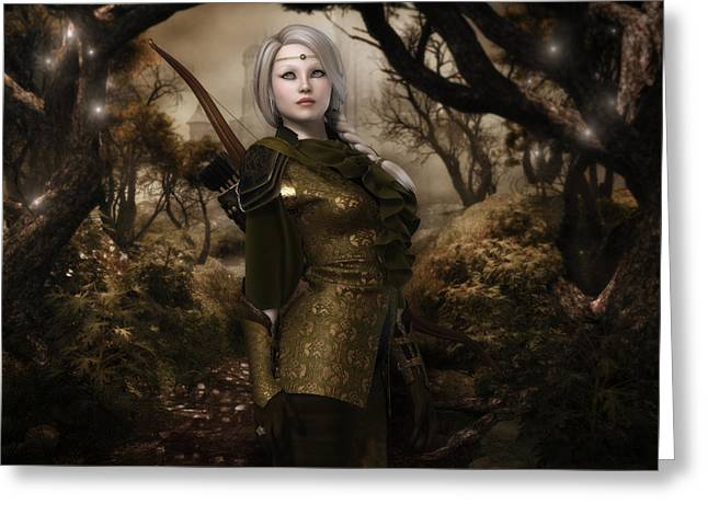 Elven Archer Greeting Cards - Eiya the Huntress Greeting Card by Rachel Dudley