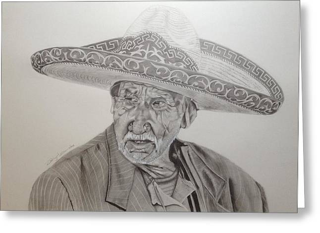 Charro Hat Greeting Cards - El Abuelo Charro Greeting Card by Rodrigo Luna