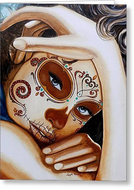 Painted Face Greeting Cards - El Amor que Siento por Vosotros es Intemporal Greeting Card by Al  Molina
