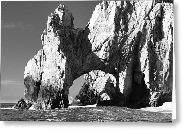 Sky Lovers Art Greeting Cards - El Arco in Black and White Greeting Card by Sebastian Musial