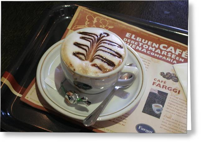 Barrista Greeting Cards - El Buen Cafe Greeting Card by Diana Matlock