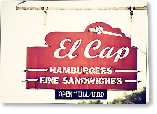 Hamburger Restaurant Greeting Cards - El Cap Restaurant Sign in St. Petersburg Florida Greeting Card by Lisa Russo
