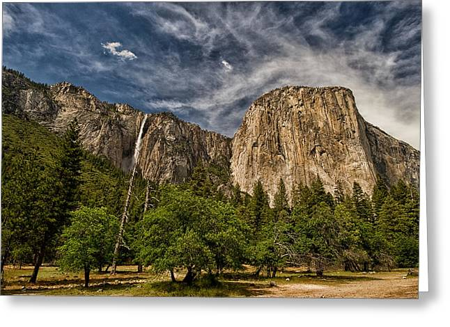 Cloudy Day Greeting Cards - El Capitan and Ribbon Falls Greeting Card by Cat Connor