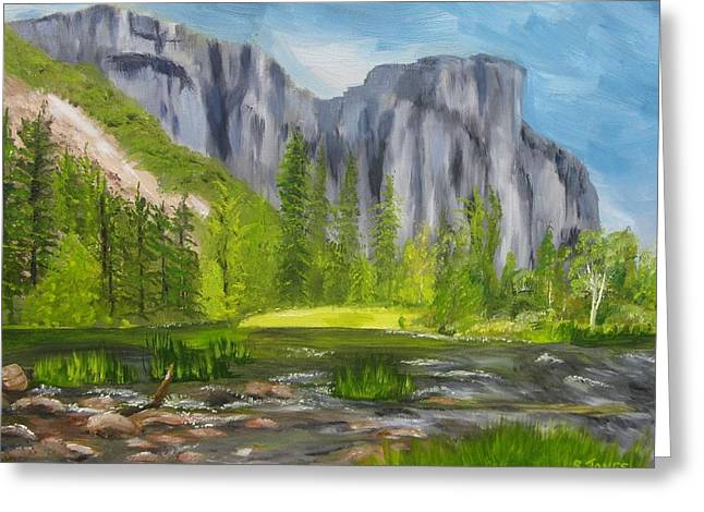 El Capitan Paintings Greeting Cards - El Capitan and the River Greeting Card by Sally Jones