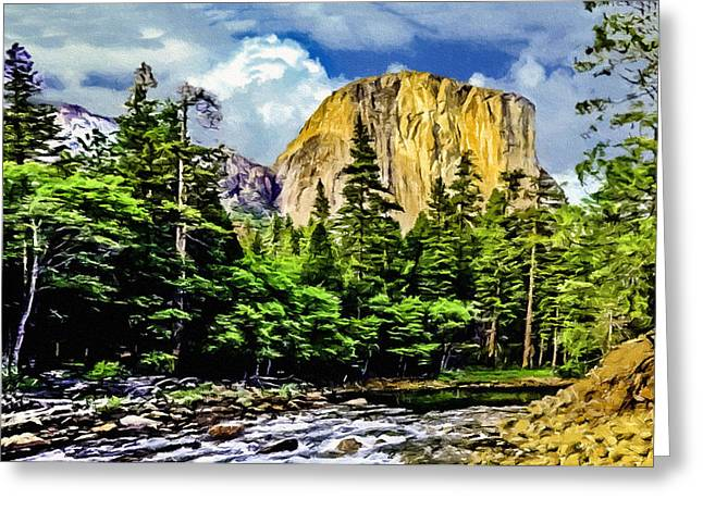Cathedral Rock Greeting Cards - El Capitan Yosemite River Painting Greeting Card by  Bob and Nadine Johnston