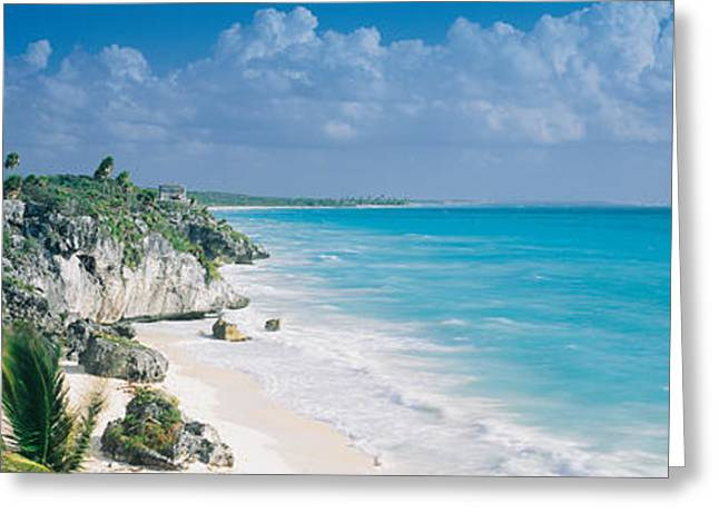 Recently Sold -  - North Sea Greeting Cards - El Castillo, Quintana Roo Caribbean Greeting Card by Panoramic Images