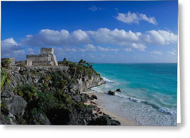 Mayans Greeting Cards - El Castillo Tulum Mexico Greeting Card by Panoramic Images