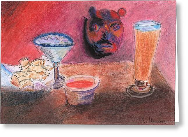 Red Wine Prints Mixed Media Greeting Cards - El Chico Mask Greeting Card by William Killen