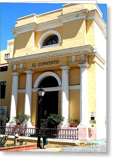 Puerto Rico Convent Greeting Cards - El Convento Hotel Greeting Card by The Art of Alice Terrill