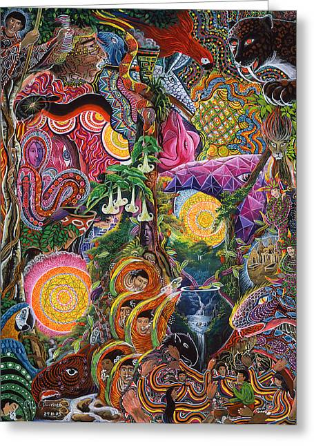 Shamanism Greeting Cards - El Encanto de las Piedras Greeting Card by Pablo Amaringo