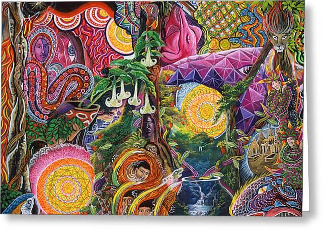 El Encanto de las Piedras Greeting Card by Pablo Amaringo