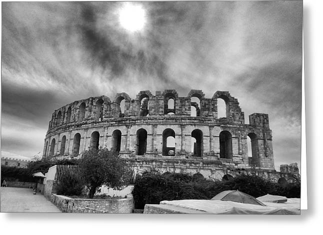 Architectur Greeting Cards - El Jem Colosseum 2 Greeting Card by Dhouib Skander