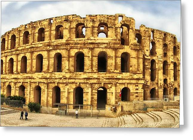 Outdoor Theater Greeting Cards - El Jem Colosseum Greeting Card by Dhouib Skander