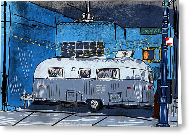 Recently Sold -  - City Lights Greeting Cards - El Luchador Airstream Greeting Card by Mike Brennan