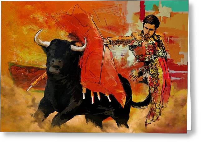 Bull Riding Greeting Cards - El Matador Greeting Card by Corporate Art Task Force