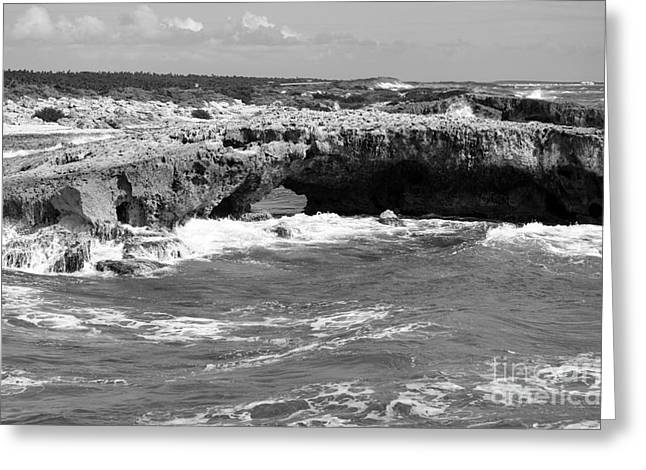 Mexico Greeting Cards - El Mirador Natural Rock Arch Bridge East Coast of Cozumel Mexico Black and White Greeting Card by Shawn O