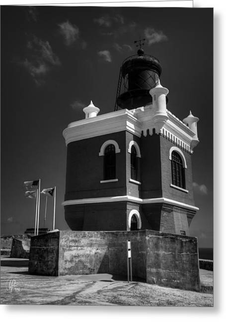 Castillo San Felipe Greeting Cards - El Morro 003 BW Greeting Card by Lance Vaughn