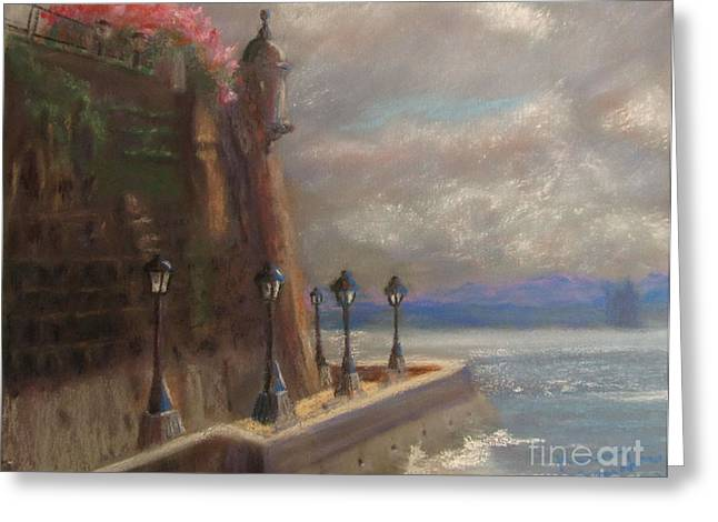 Puerto Rico Pastels Greeting Cards - El Morro Greeting Card by Karen Sanabria