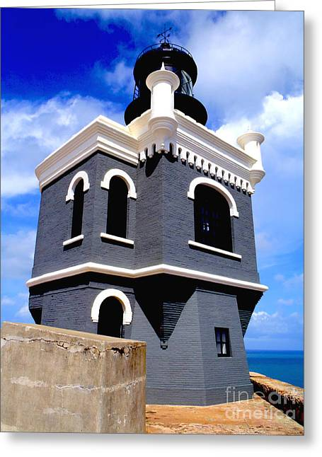 Venezuela Greeting Cards - El Morro Lighthouse Greeting Card by Carey Chen