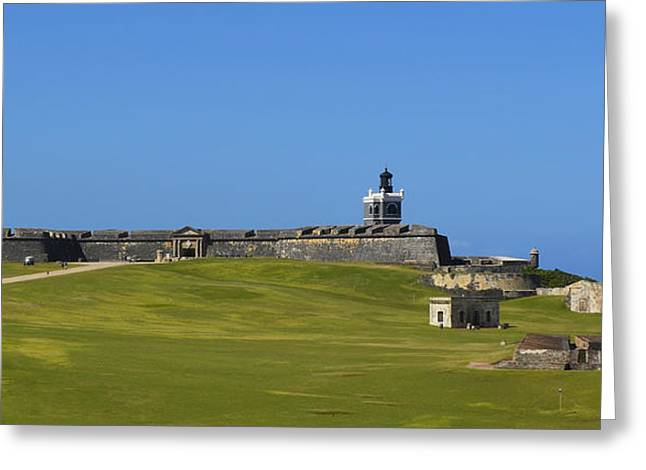 Castillo San Felipe Greeting Cards - El Morro Panorama Greeting Card by Shanna Hyatt