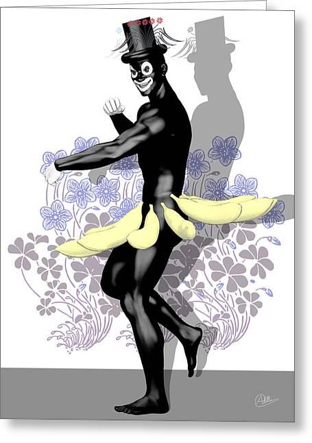 Banana Drawings Greeting Cards - King of the banana By Quim Abella Greeting Card by Joaquin Abella