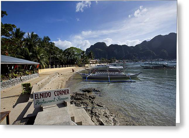 El-nido Greeting Cards - El Nido Township in Palawan Greeting Card by Darren Burton