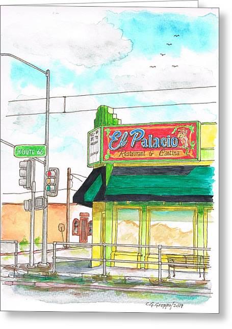 Devine Greeting Cards - El Palacio Restaurant in Route 66 Andy Devine Ave - Kingman - Arizona Greeting Card by Carlos G Groppa