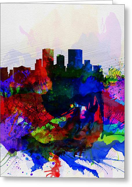 El Greeting Cards - El Paseo Watercolor Skyline Greeting Card by Naxart Studio