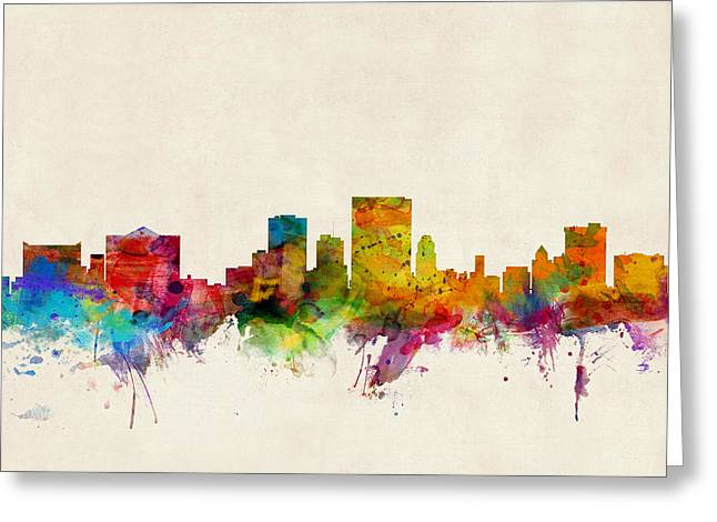 Skyline Greeting Cards - El Paso Texas Skyline Greeting Card by Michael Tompsett