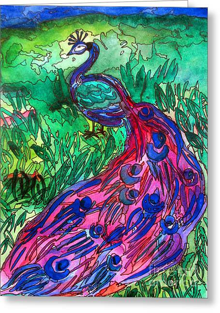 Lanscape Drawings Greeting Cards - EL Pavo Real Greeting Card by Andrea Barrett