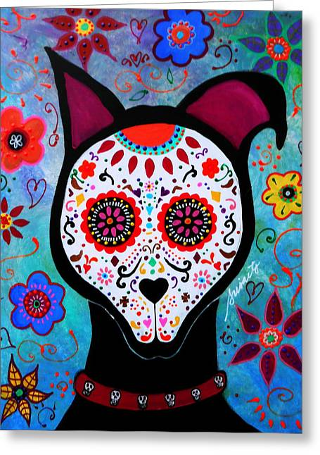 Bestfriend Greeting Cards - El Perro Day Of The Dead Greeting Card by Pristine Cartera Turkus