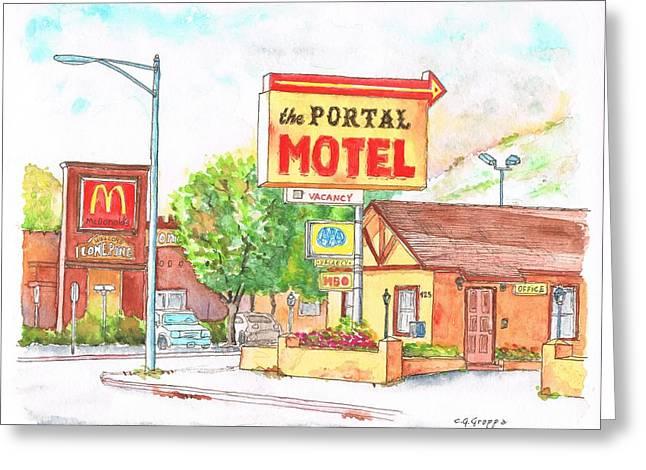 Portal Paintings Greeting Cards - El Portal Motel in Lone Pine - California Greeting Card by Carlos G Groppa