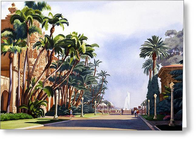 Balboa Greeting Cards - El Prado in Balboa Park Greeting Card by Mary Helmreich