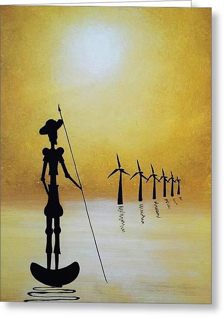 Edwin Alverio Greeting Cards - Don Quixote Fighting The Windmills Greeting Card by Edwin Alverio