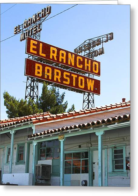 Motel Art Greeting Cards - El Rancho Motel - Barstow Greeting Card by Mike McGlothlen