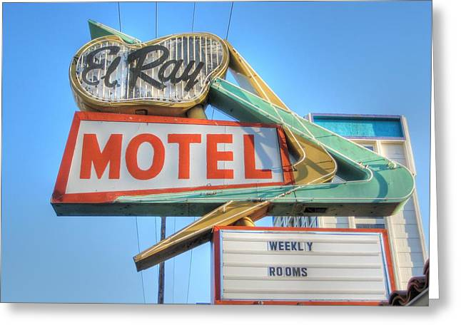 Route 66 Motel Sign Greeting Cards - El Ray Motel Greeting Card by Jane Linders