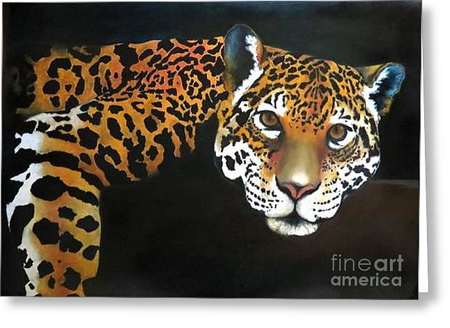 Jaguars Pastels Greeting Cards - El REY Greeting Card by Linda Weldon