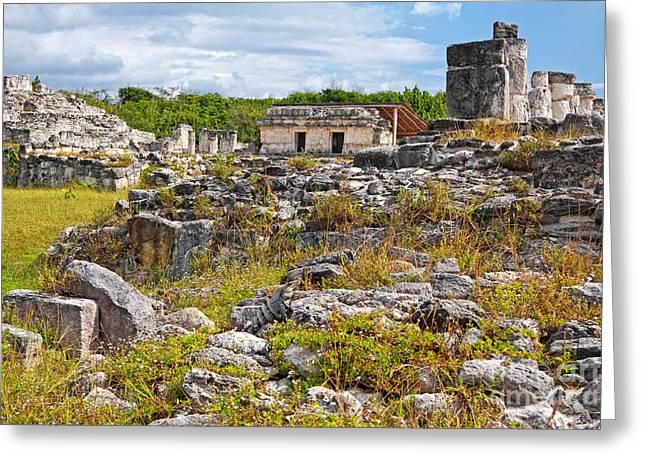 Cancun Greeting Cards - EL Rey Ruins Greeting Card by Charline Xia