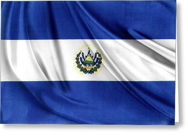 Textile Photographs Photographs Greeting Cards - El Salvador flag Greeting Card by Les Cunliffe